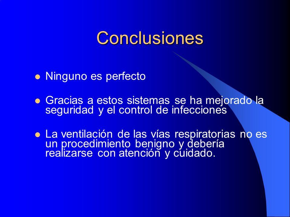 Conclusiones Ninguno es perfecto Gracias a estos sistemas se ha mejorado la seguridad y el control de infecciones La ventilación de las vías respirato