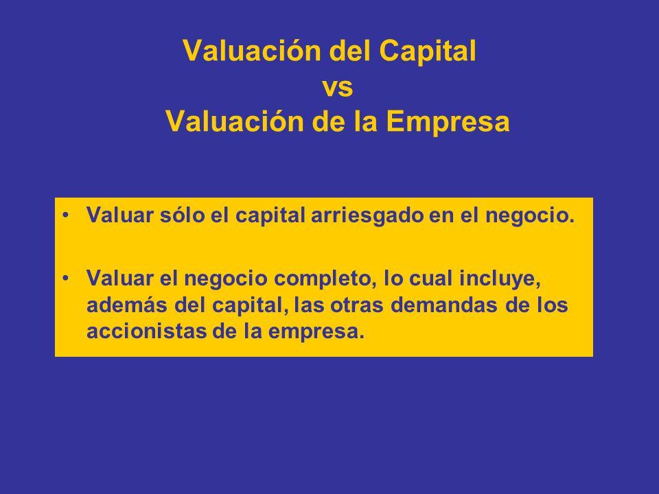 Valuación del Capital vs Valuación de la Empresa Valuar sólo el capital arriesgado en el negocio. Valuar el negocio completo, lo cual incluye, además