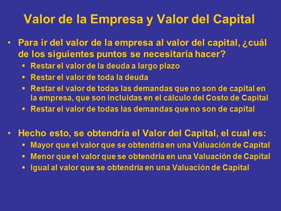 Valor de la Empresa y Valor del Capital Para ir del valor de la empresa al valor del capital, ¿cuál de los siguientes puntos se necesitaría hacer? Res