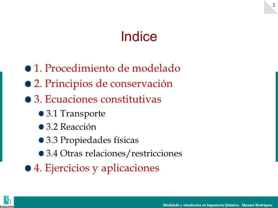 Modelado y simulación en Ingeniería Química. Manuel Rodríguez 2 1. Procedimiento de modelado 2. Principios de conservación 3. Ecuaciones constitutivas