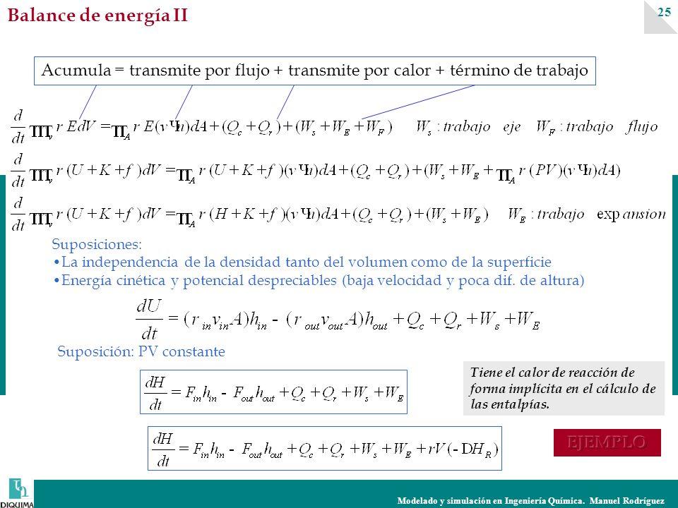 Modelado y simulación en Ingeniería Química. Manuel Rodríguez 25 Suposiciones: La independencia de la densidad tanto del volumen como de la superficie