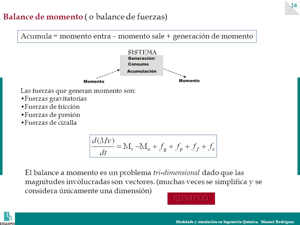 Modelado y simulación en Ingeniería Química. Manuel Rodríguez 26 Balance de momento ( o balance de fuerzas) Acumula = momento entra – momento sale + g