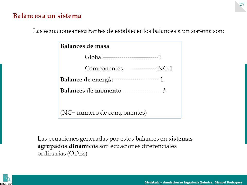 Modelado y simulación en Ingeniería Química. Manuel Rodríguez 27 Balances a un sistema Balances de masa Global---------------------------1 Componentes