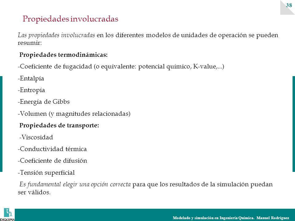 Modelado y simulación en Ingeniería Química. Manuel Rodríguez 38 Las propiedades involucradas en los diferentes modelos de unidades de operación se pu
