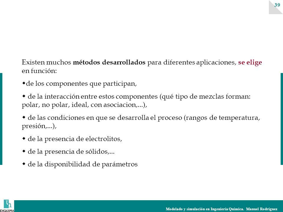 Modelado y simulación en Ingeniería Química. Manuel Rodríguez 39 Existen muchos métodos desarrollados para diferentes aplicaciones, se elige en funció