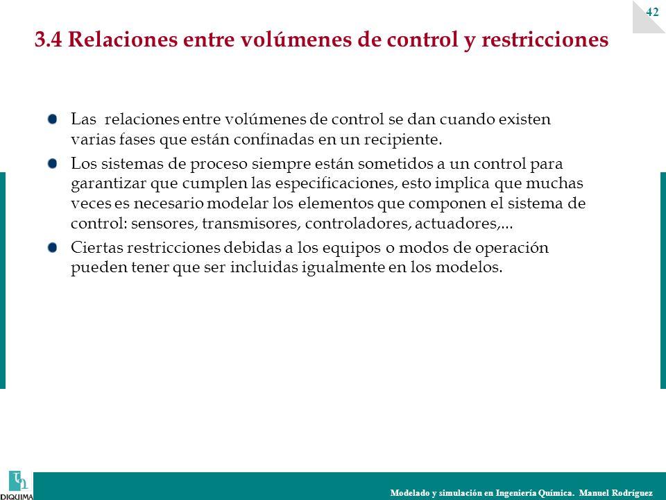 Modelado y simulación en Ingeniería Química. Manuel Rodríguez 42 3.4 Relaciones entre volúmenes de control y restricciones Las relaciones entre volúme