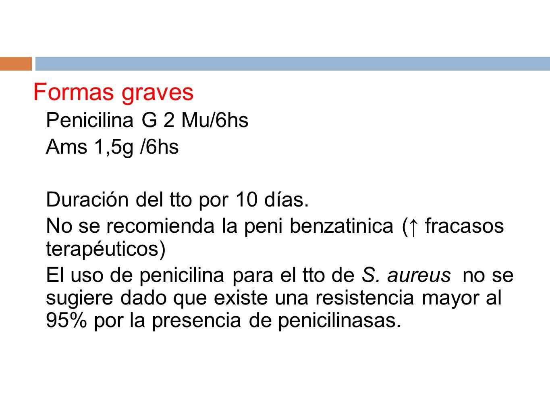 Formas graves Penicilina G 2 Mu/6hs Ams 1,5g /6hs Duración del tto por 10 días. No se recomienda la peni benzatinica ( fracasos terapéuticos) El uso d