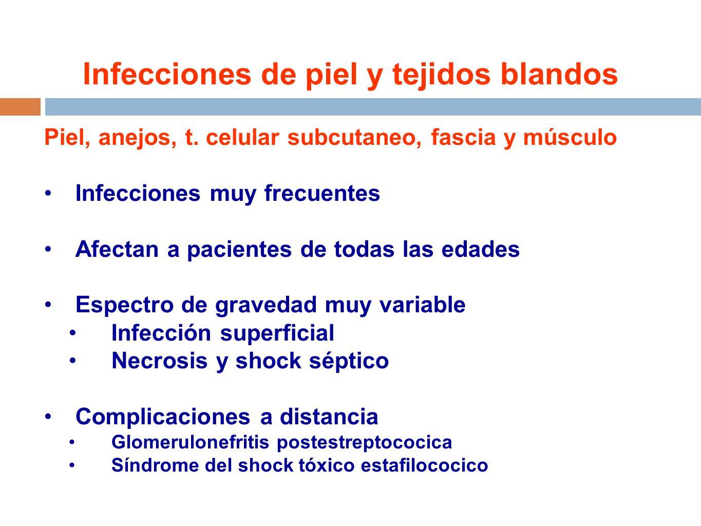 Infecciones de piel y tejidos blandos Piel, anejos, t. celular subcutaneo, fascia y músculo Infecciones muy frecuentes Afectan a pacientes de todas la