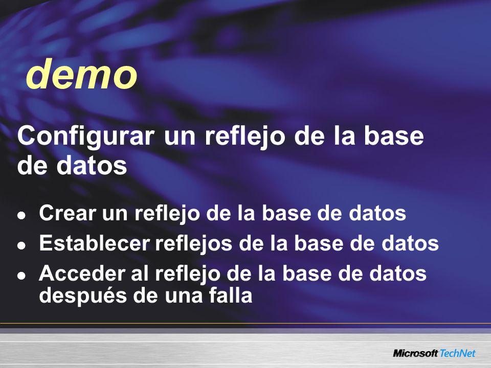 Demo Configurar un reflejo de la base de datos Crear un reflejo de la base de datos Establecer reflejos de la base de datos Acceder al reflejo de la b