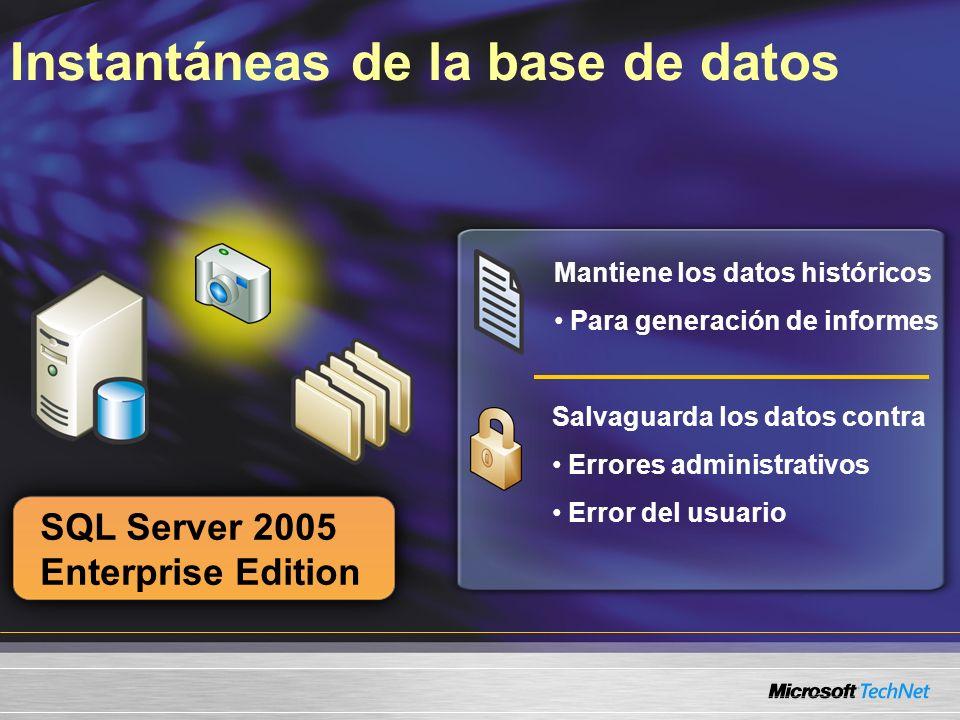 Instantáneas de la base de datos SQL Server 2005 Enterprise Edition Mantiene los datos históricos Para generación de informes Salvaguarda los datos co