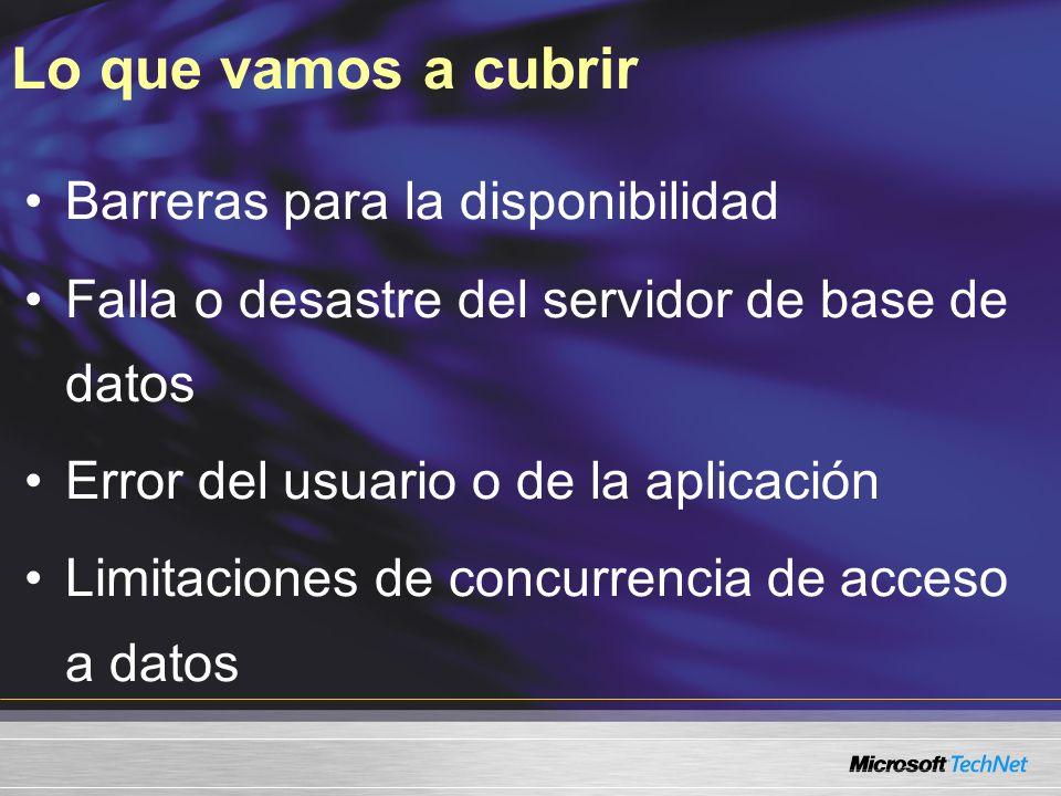 Lo que vamos a cubrir Barreras para la disponibilidad Falla o desastre del servidor de base de datos Error del usuario o de la aplicación Limitaciones