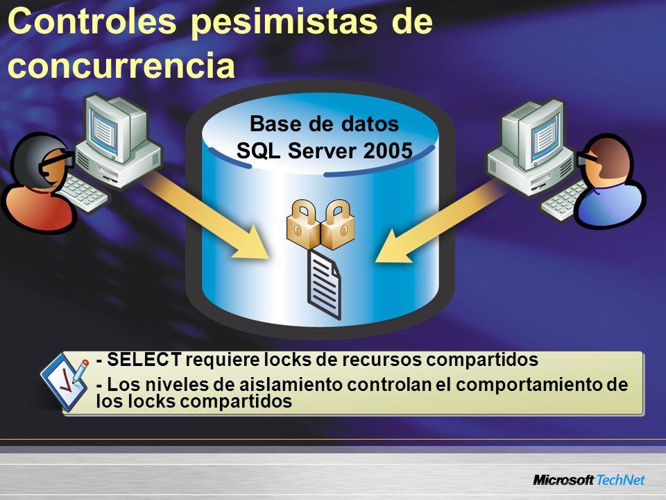 Controles pesimistas de concurrencia Base de datos SQL Server 2005 - SELECT requiere locks de recursos compartidos - Los niveles de aislamiento contro