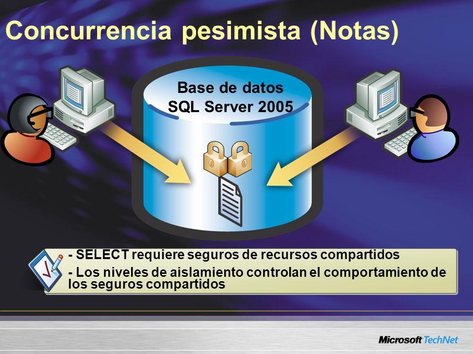 Concurrencia pesimista (Notas) Base de datos SQL Server 2005 - SELECT requiere seguros de recursos compartidos - Los niveles de aislamiento controlan