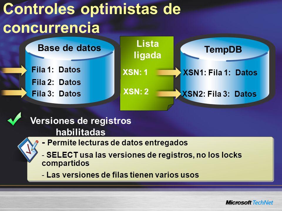 Lista ligada XSN1: Fila 1: Datos Controles optimistas de concurrencia Fila 1: Datos Versiones de registros habilitadas Base de datos TempDB Fila 2: Da