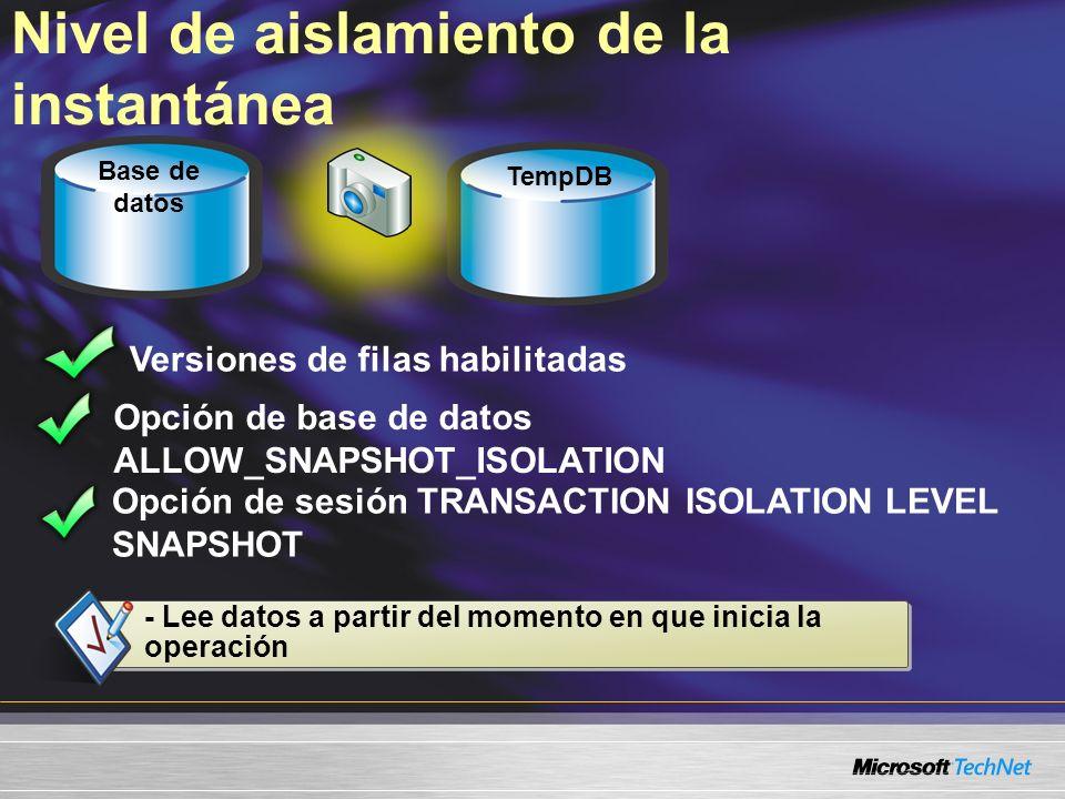 Nivel de aislamiento de la instantánea Versiones de filas habilitadas Opción de base de datos ALLOW_SNAPSHOT_ISOLATION Opción de sesión TRANSACTION IS