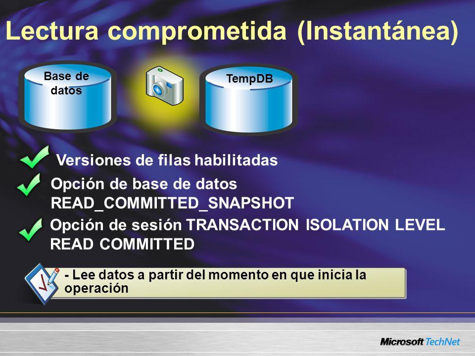 Lectura comprometida (Instantánea) Versiones de filas habilitadas TempDB Base de datos - Lee datos a partir del momento en que inicia la operación Opc