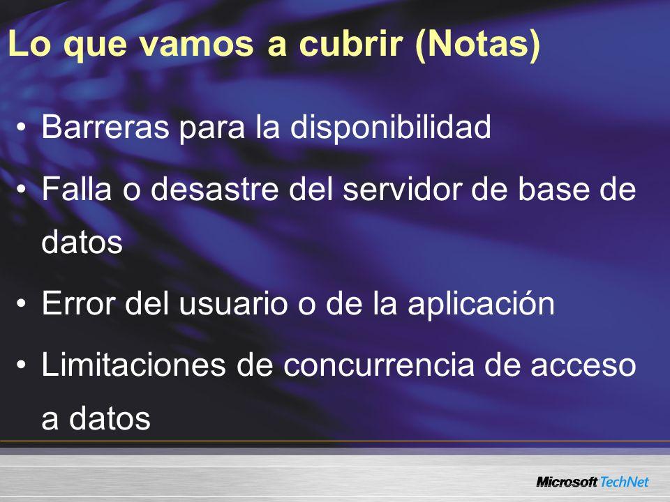 Lo que vamos a cubrir (Notas) Barreras para la disponibilidad Falla o desastre del servidor de base de datos Error del usuario o de la aplicación Limi