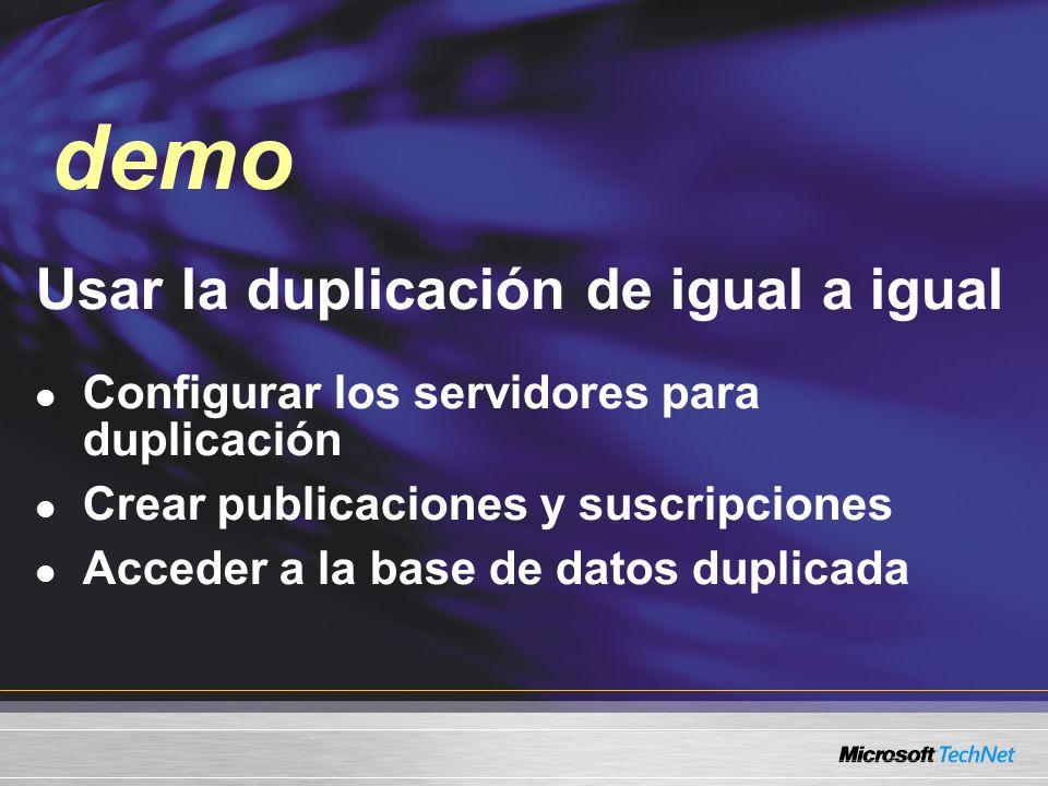 Demo Usar la duplicación de igual a igual Configurar los servidores para duplicación Crear publicaciones y suscripciones Acceder a la base de datos du