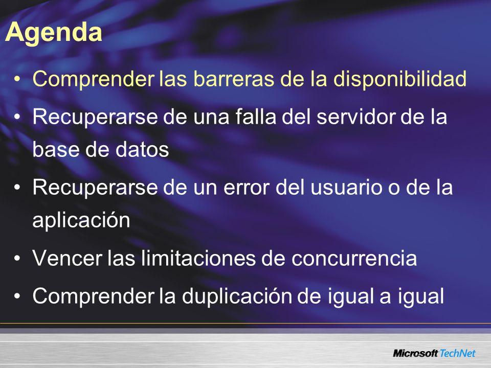 Comprender las barreras de la disponibilidad Recuperarse de una falla del servidor de la base de datos Recuperarse de un error del usuario o de la apl