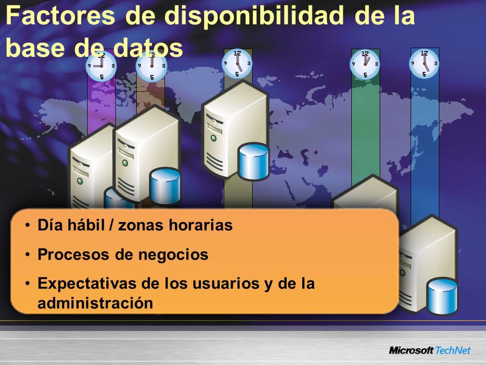 Día hábil / zonas horarias Procesos de negocios Expectativas de los usuarios y de la administración Factores de disponibilidad de la base de datos