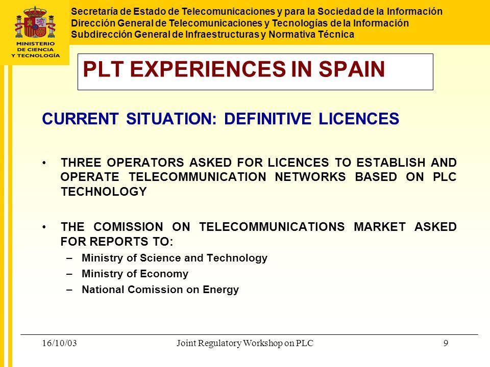 Secretaría de Estado de Telecomunicaciones y para la Sociedad de la Información Dirección General de Telecomunicaciones y Tecnologías de la Información Subdirección General de Infraestructuras y Normativa Técnica 16/10/03Joint Regulatory Workshop on PLC10 DEFINITIVE LICENCES.