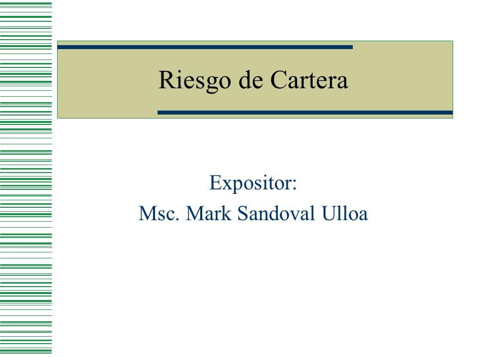 Riesgo de Cartera Expositor: Msc. Mark Sandoval Ulloa
