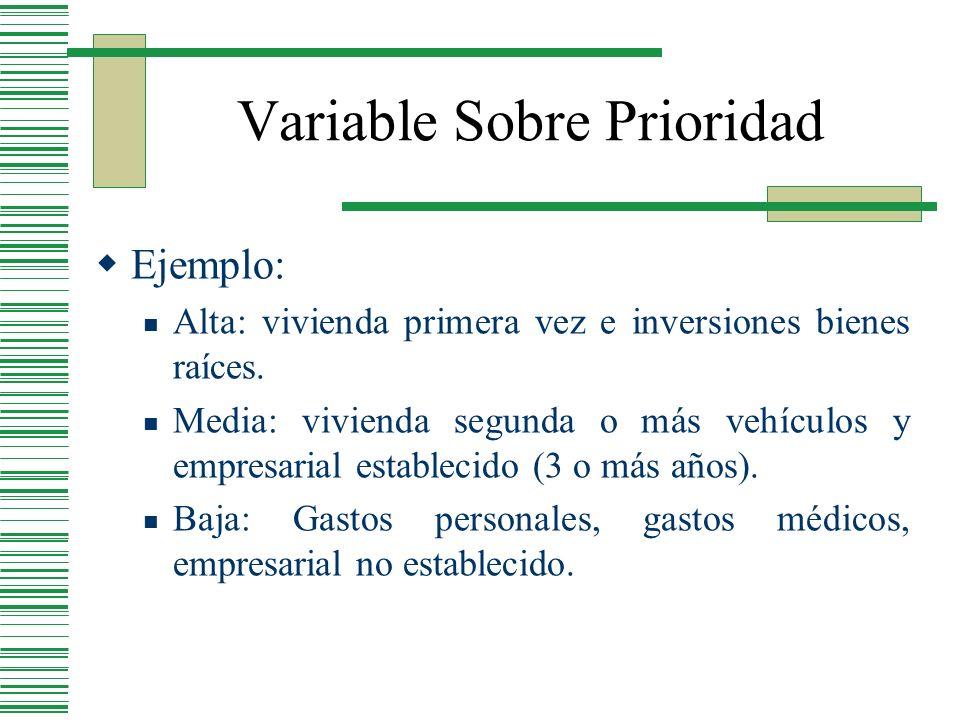 Variable Sobre Prioridad Ejemplo: Alta: vivienda primera vez e inversiones bienes raíces. Media: vivienda segunda o más vehículos y empresarial establ