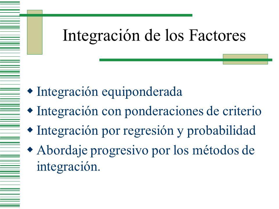 Integración de los Factores Integración equiponderada Integración con ponderaciones de criterio Integración por regresión y probabilidad Abordaje prog