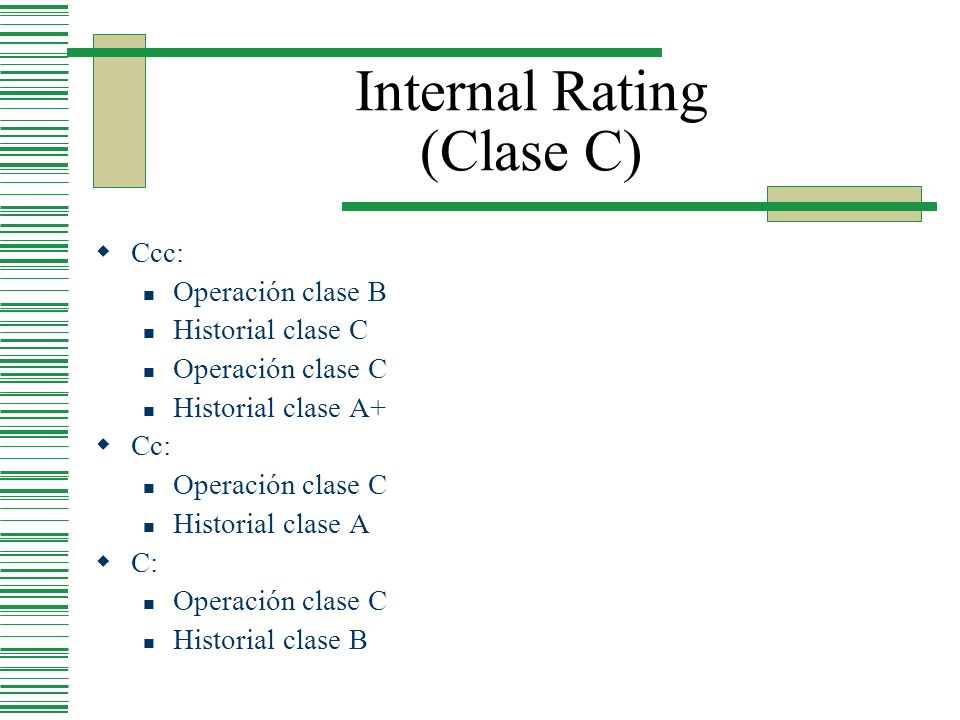 Internal Rating (Clase C) Ccc: Operación clase B Historial clase C Operación clase C Historial clase A+ Cc: Operación clase C Historial clase A C: Ope
