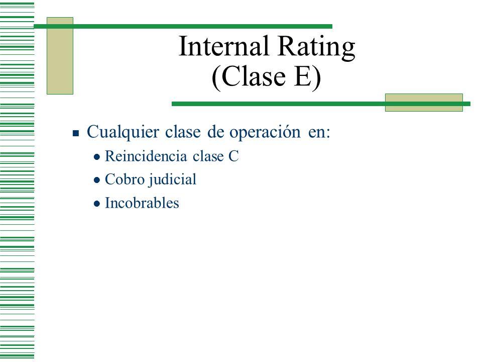 Internal Rating (Clase E) Cualquier clase de operación en: Reincidencia clase C Cobro judicial Incobrables