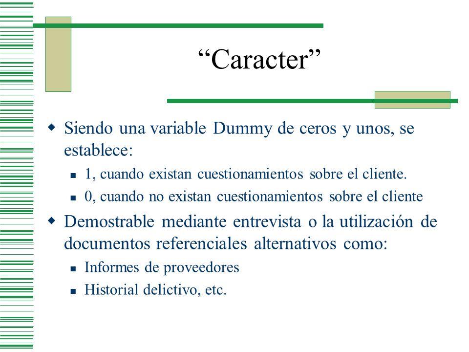 Caracter Siendo una variable Dummy de ceros y unos, se establece: 1, cuando existan cuestionamientos sobre el cliente. 0, cuando no existan cuestionam