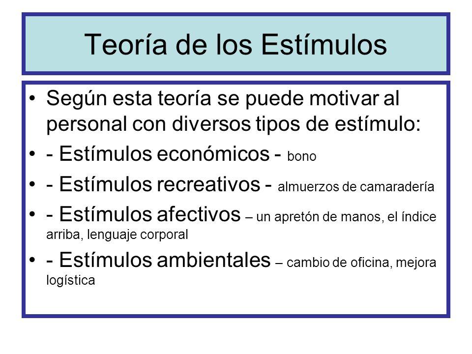Teoría de los Estímulos Según esta teoría se puede motivar al personal con diversos tipos de estímulo: - Estímulos económicos - bono - Estímulos recre