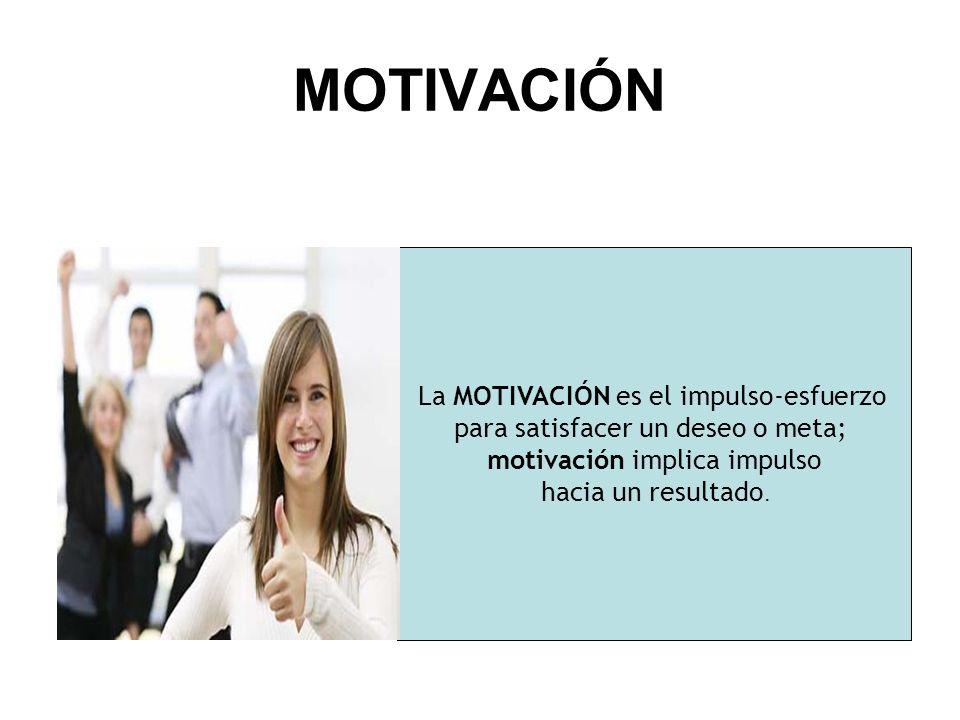 Motivación La motivación es lo que hace que un individuo actúe y se comporte de una determinada manera.