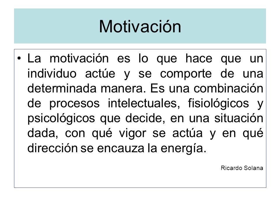 Motivación La motivación es lo que hace que un individuo actúe y se comporte de una determinada manera. Es una combinación de procesos intelectuales,