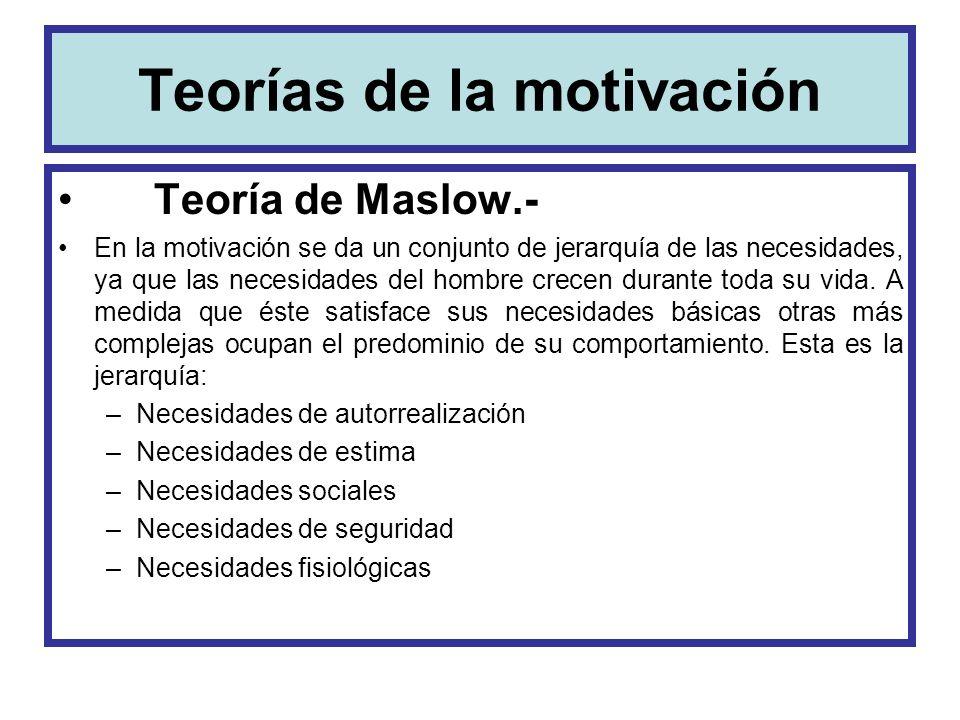 Teorías de la motivación Teoría de Maslow.- En la motivación se da un conjunto de jerarquía de las necesidades, ya que las necesidades del hombre crec