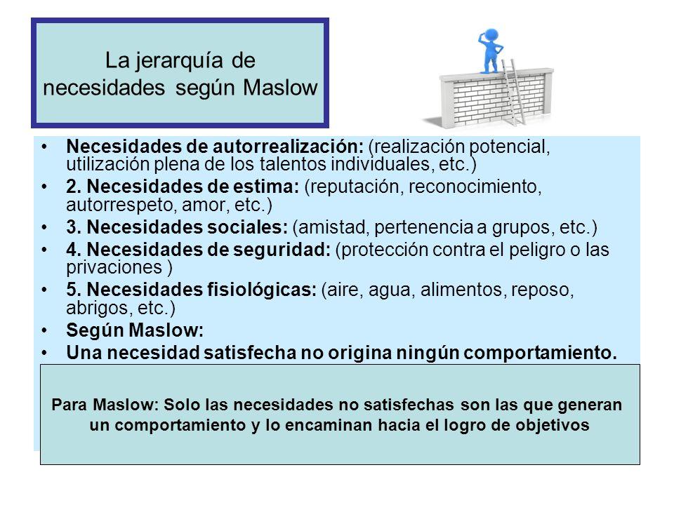 La jerarquía de necesidades según Maslow Necesidades de autorrealización: (realización potencial, utilización plena de los talentos individuales, etc.