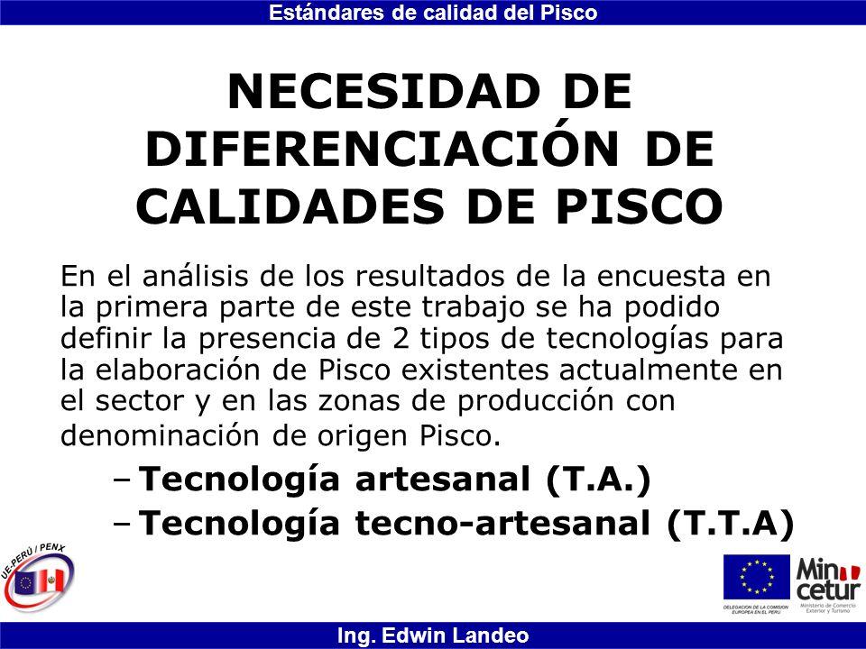 Estándares de calidad del Pisco Ing. Edwin Landeo NECESIDAD DE DIFERENCIACIÓN DE CALIDADES DE PISCO En el análisis de los resultados de la encuesta en