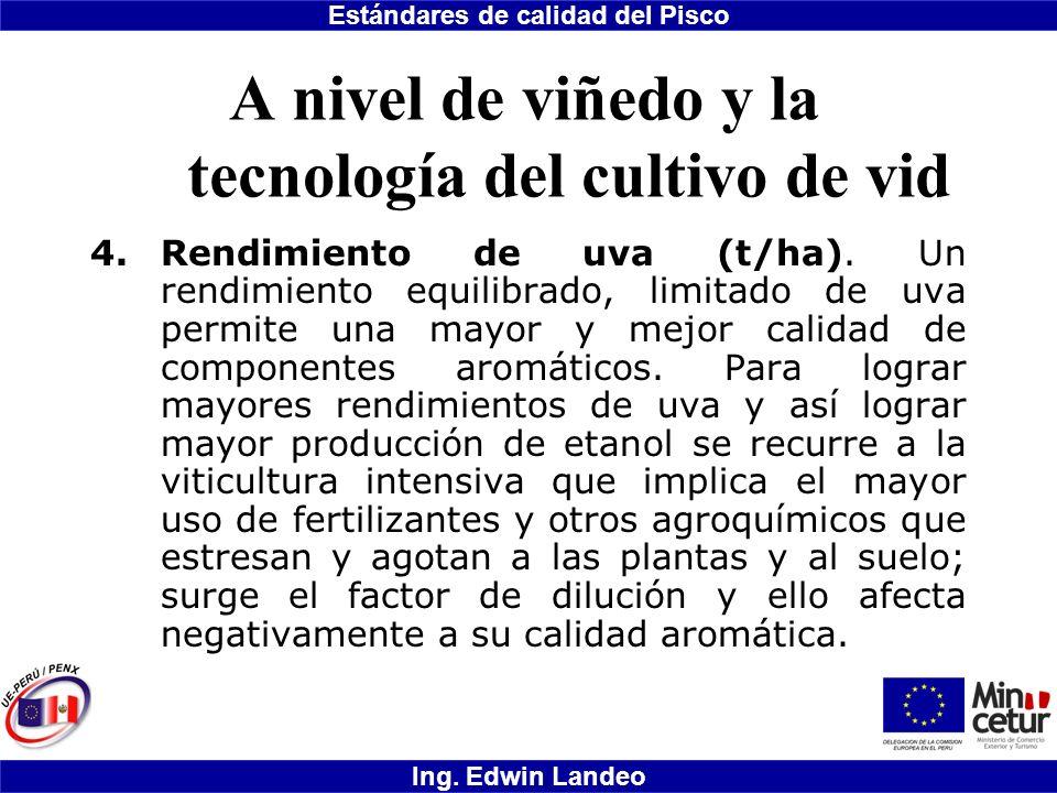 Estándares de calidad del Pisco Ing. Edwin Landeo A nivel de viñedo y la tecnología del cultivo de vid 4.Rendimiento de uva (t/ha). Un rendimiento equ