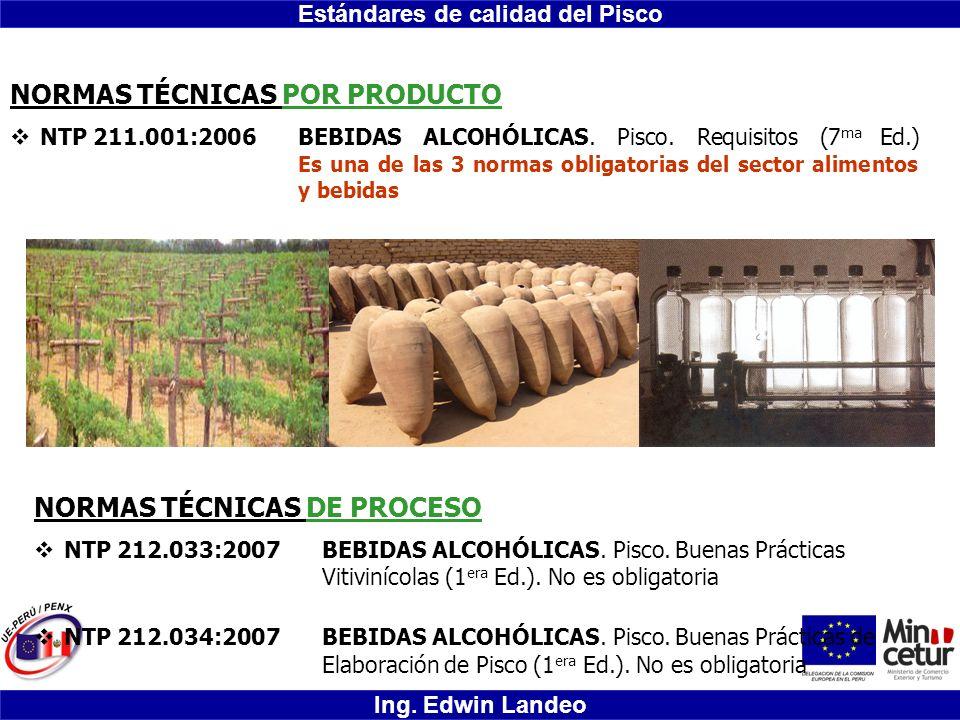 Estándares de calidad del Pisco Ing. Edwin Landeo NORMAS TÉCNICAS POR PRODUCTO NTP 211.001:2006BEBIDAS ALCOHÓLICAS. Pisco. Requisitos (7 ma Ed.) Es un