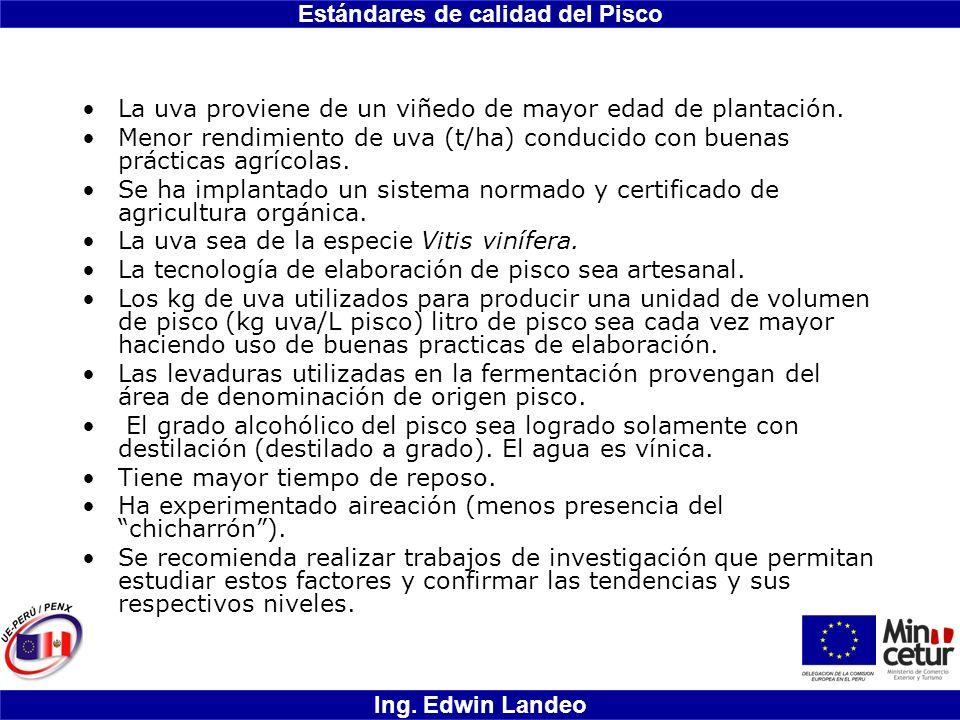 Estándares de calidad del Pisco Ing. Edwin Landeo La uva proviene de un viñedo de mayor edad de plantación. Menor rendimiento de uva (t/ha) conducido