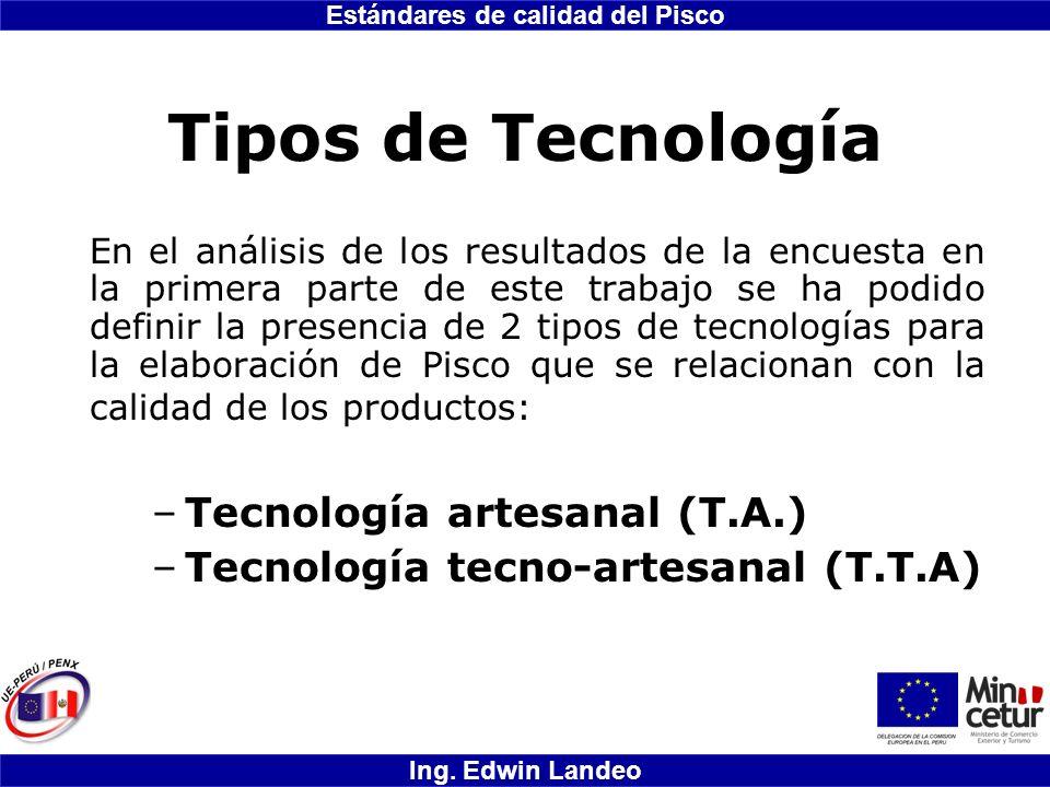 Estándares de calidad del Pisco Ing. Edwin Landeo Tipos de Tecnología En el análisis de los resultados de la encuesta en la primera parte de este trab