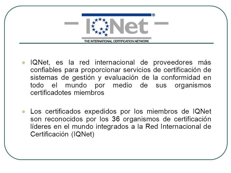 IQNet, es la red internacional de proveedores más confiables para proporcionar servicios de certificación de sistemas de gestión y evaluación de la co