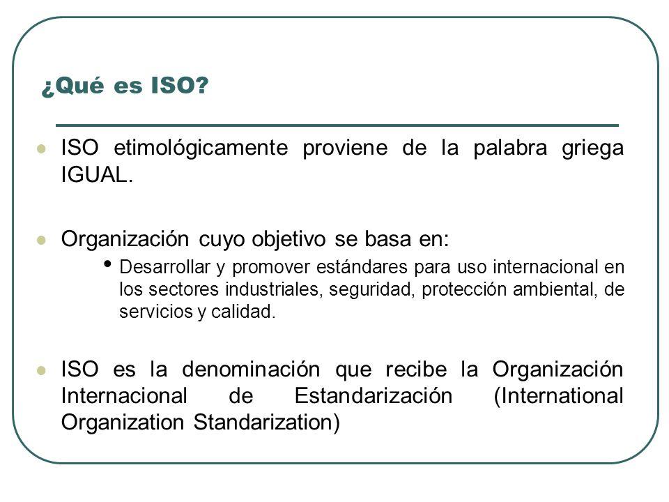 ¿Qué es ISO? ISO etimológicamente proviene de la palabra griega IGUAL. Organización cuyo objetivo se basa en: Desarrollar y promover estándares para u
