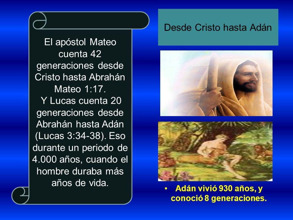 El apóstol Mateo cuenta 42 generaciones desde Cristo hasta Abrahán Mateo 1:17. Y Lucas cuenta 20 generaciones desde Abrahán hasta Adán (Lucas 3:34-38)