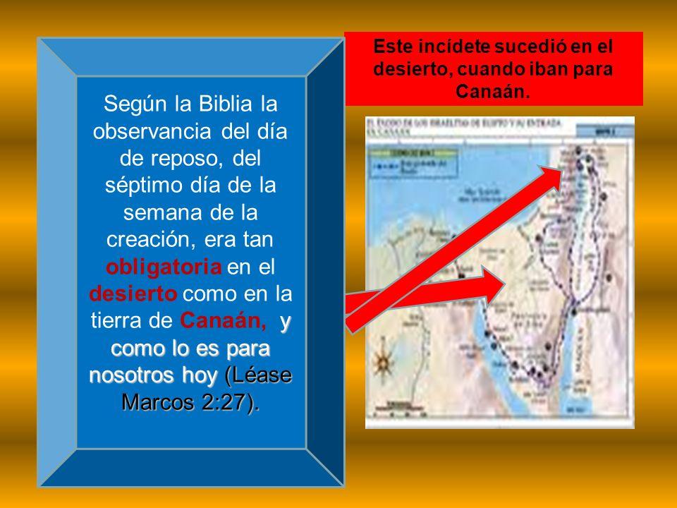 Este incídete sucedió en el desierto, cuando iban para Canaán. y como lo es para nosotros hoy (Léase Marcos 2:27). Según la Biblia la observancia del