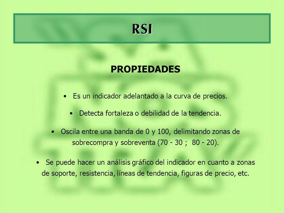 RSI PROPIEDADES Es un indicador adelantado a la curva de precios. Detecta fortaleza o debilidad de la tendencia. Oscila entre una banda de 0 y 100, de