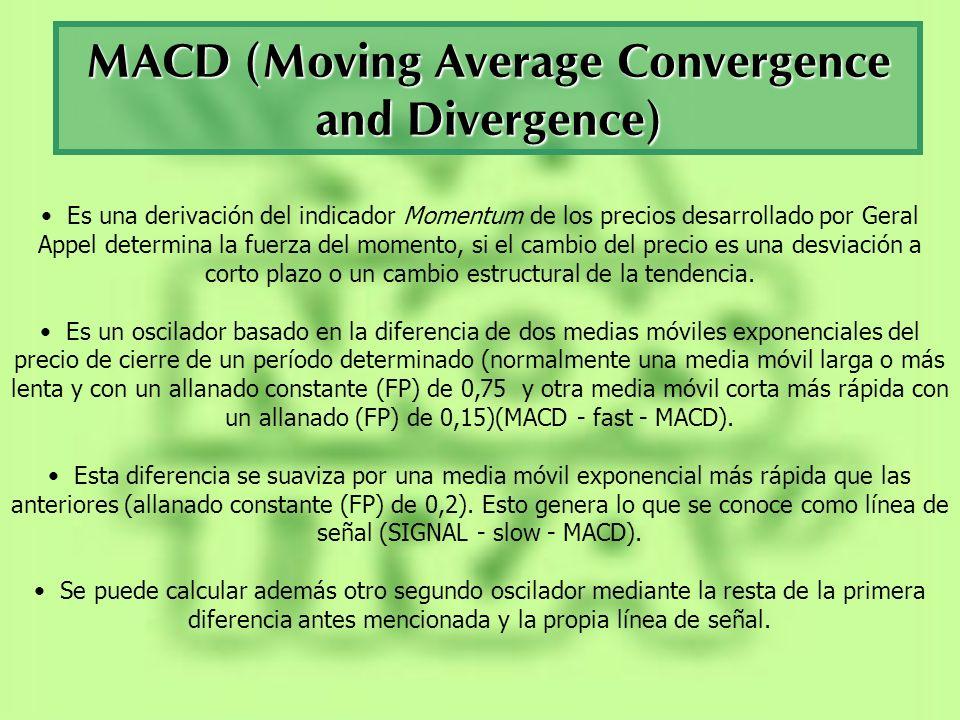 MACD (Moving Average Convergence and Divergence) Es una derivación del indicador Momentum de los precios desarrollado por Geral Appel determina la fue