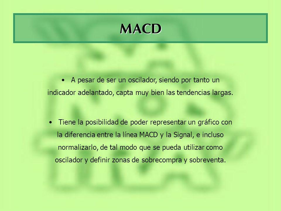 MACD A pesar de ser un oscilador, siendo por tanto un indicador adelantado, capta muy bien las tendencias largas. Tiene la posibilidad de poder repres