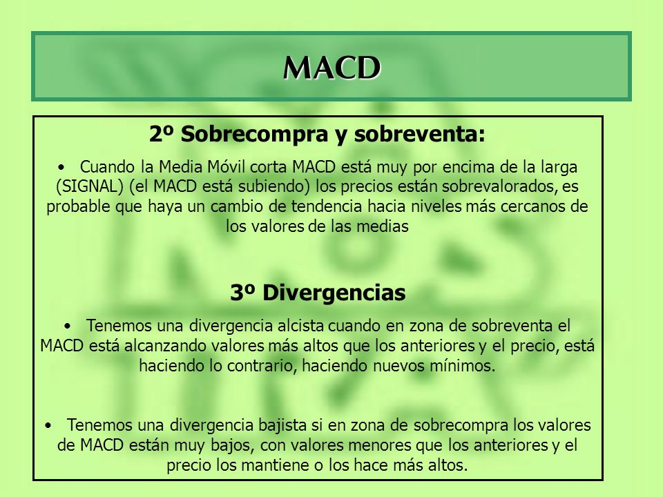 MACD 2º Sobrecompra y sobreventa: Cuando la Media Móvil corta MACD está muy por encima de la larga (SIGNAL) (el MACD está subiendo) los precios están