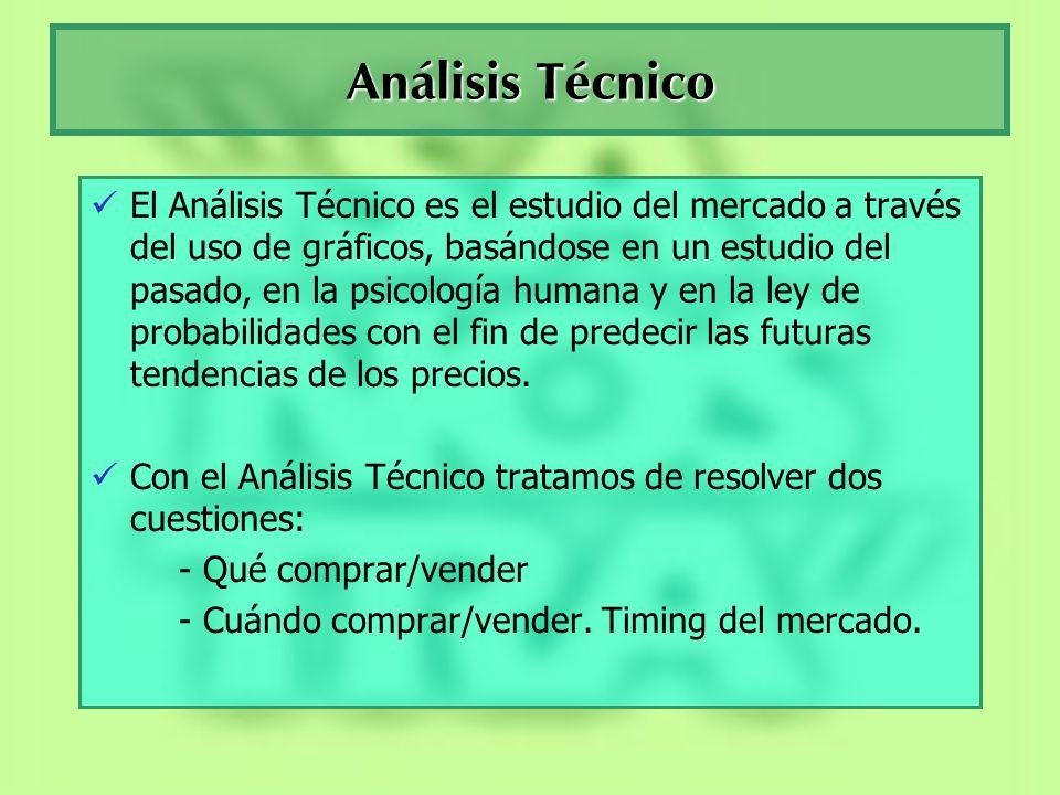 Análisis Técnico El Análisis Técnico es el estudio del mercado a través del uso de gráficos, basándose en un estudio del pasado, en la psicología huma